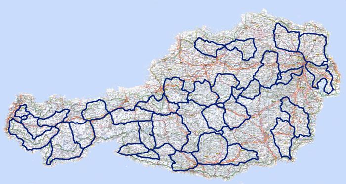 �sterreichkarte mit eingezeichneten Routen
